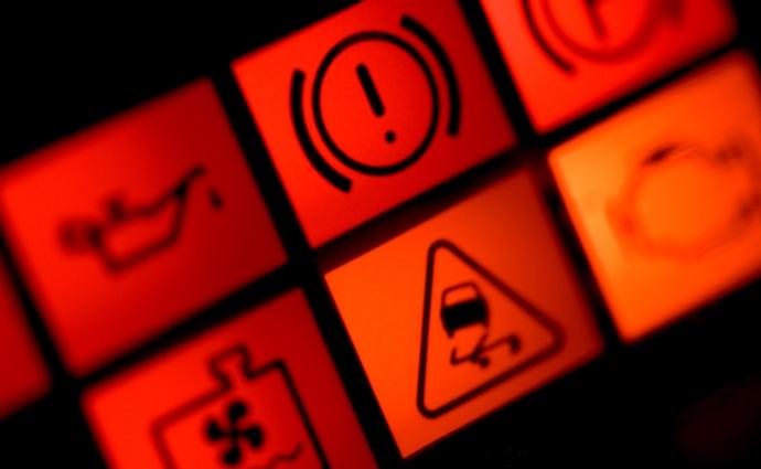 Varningslampor i instrumentpanelen
